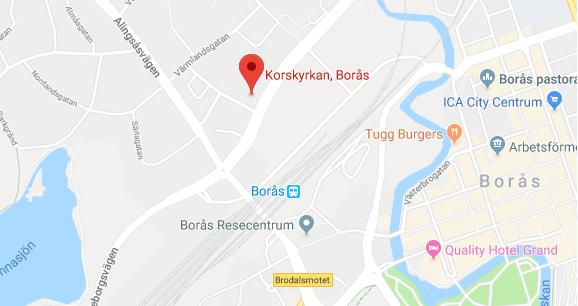 Karta till Korskyrkan Borås